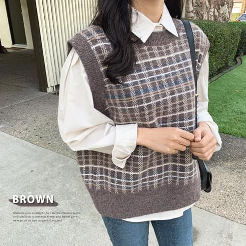 London check knit vest best T#YW441