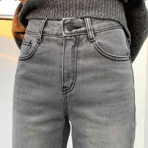 Bottom cut semi-boots cut gray jeans denim pants P#YW370