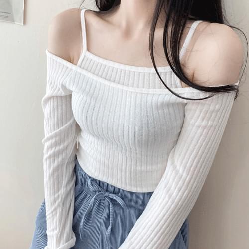 Ribbed Layered Sleeveless + long sleeve t-shirt sets T # YW593