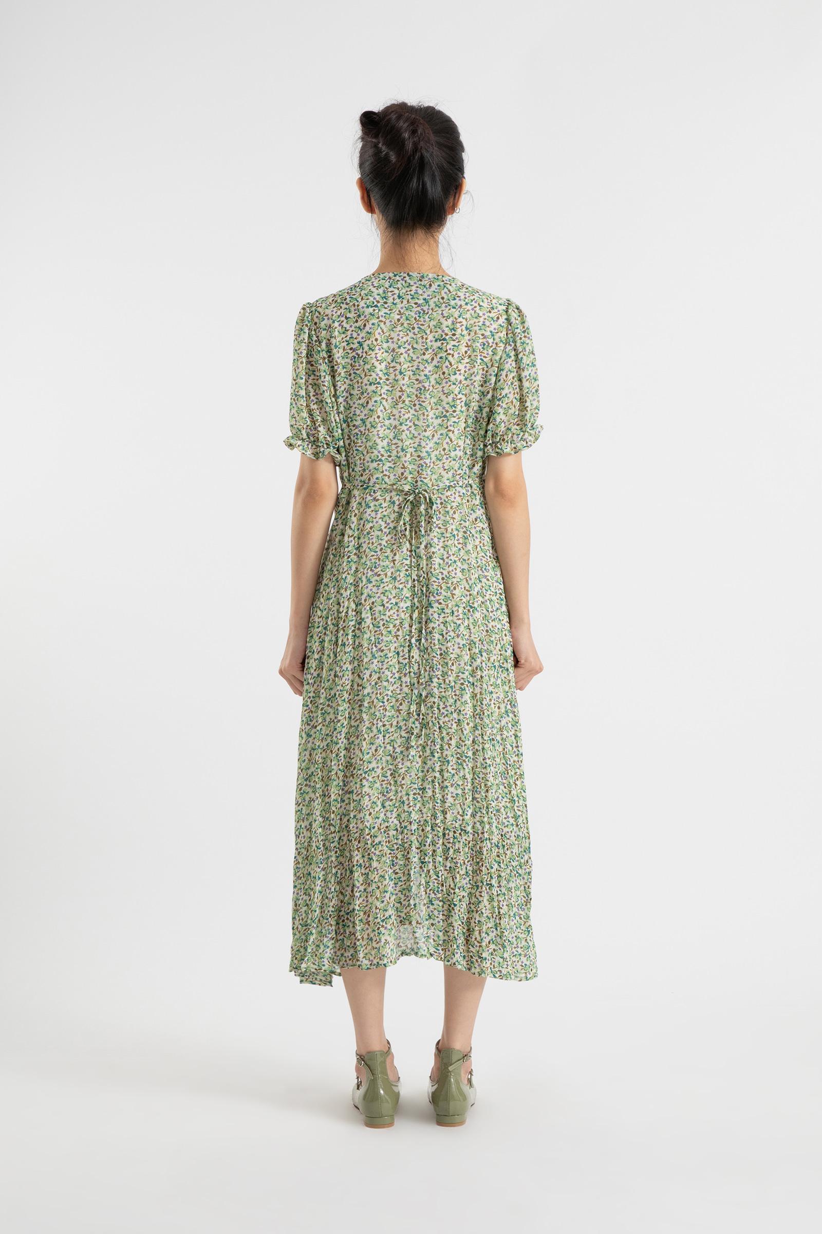 Grain frill maxi dress