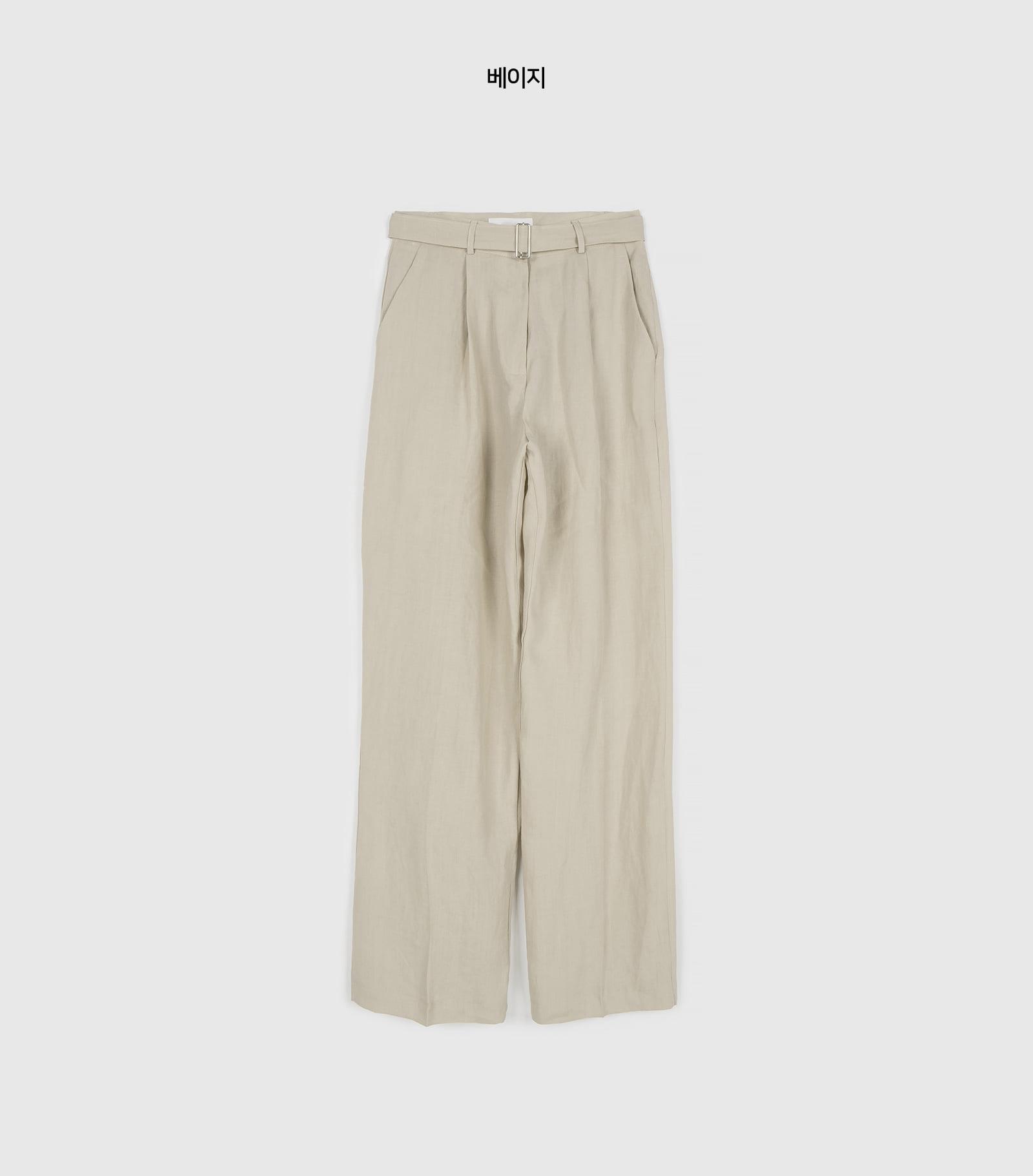 Cozy Linen Belt Straight Slacks