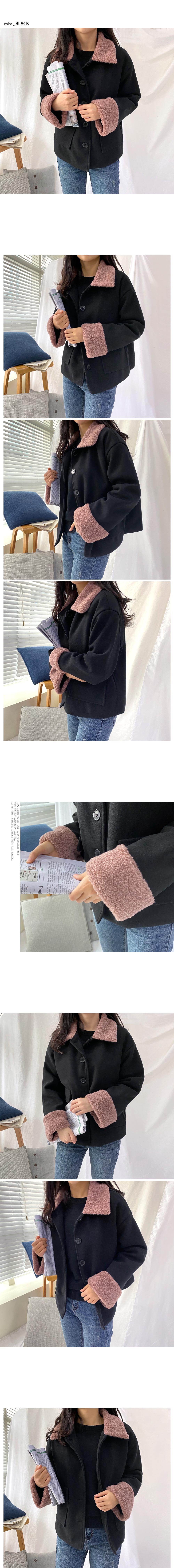 Fleece collar short coat O#YW117