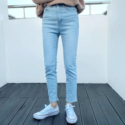 Light Blue Ice Slim Straight Fit Denim Pants P#YW388