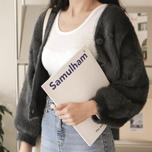 Faux fur crop cardigan T#YW478