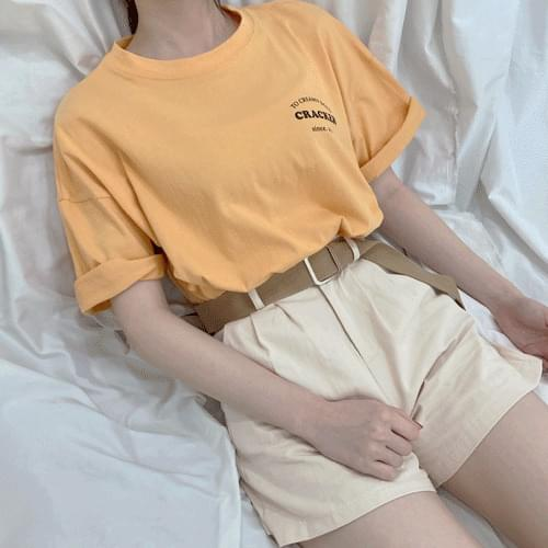 Simple pin tuck cotton shorts P#YW495