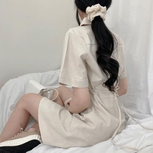 Linen color dress T#YW626