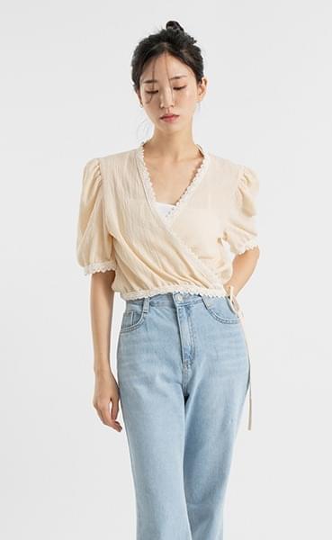 Butter crop lace wrap blouse