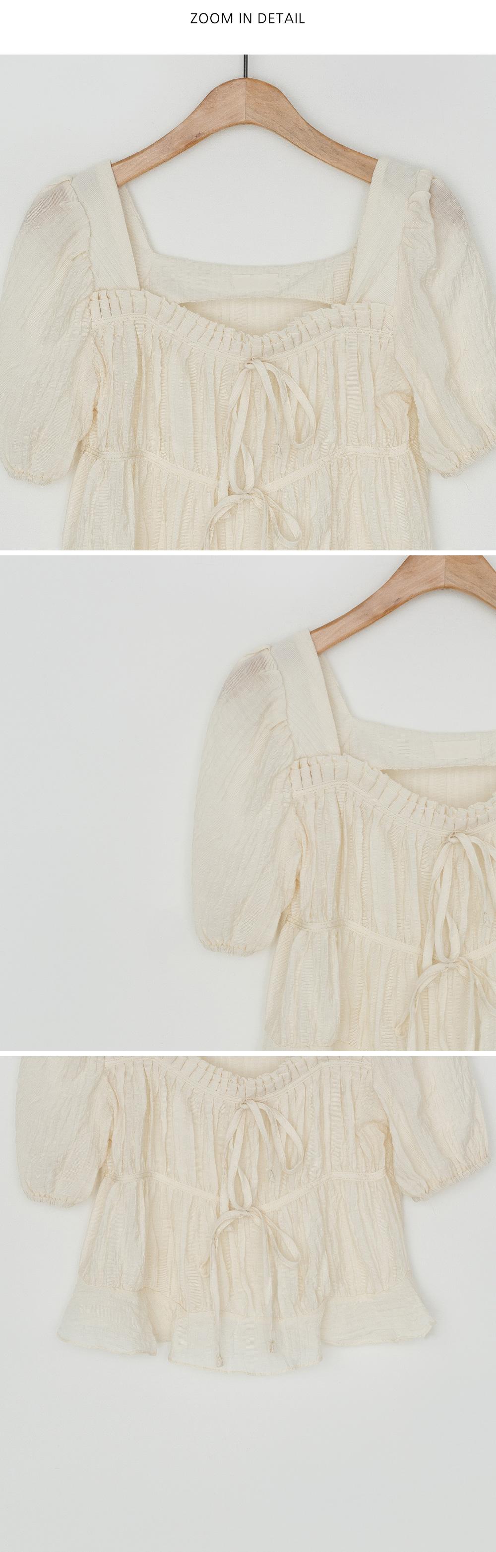 Puff sleeve shirring crop blouse