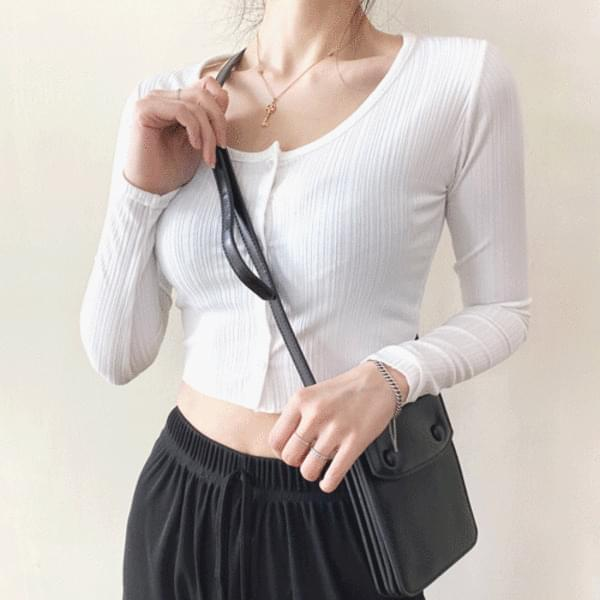 Slim Fit Ribbed Crop Button Cardigan T#YW585