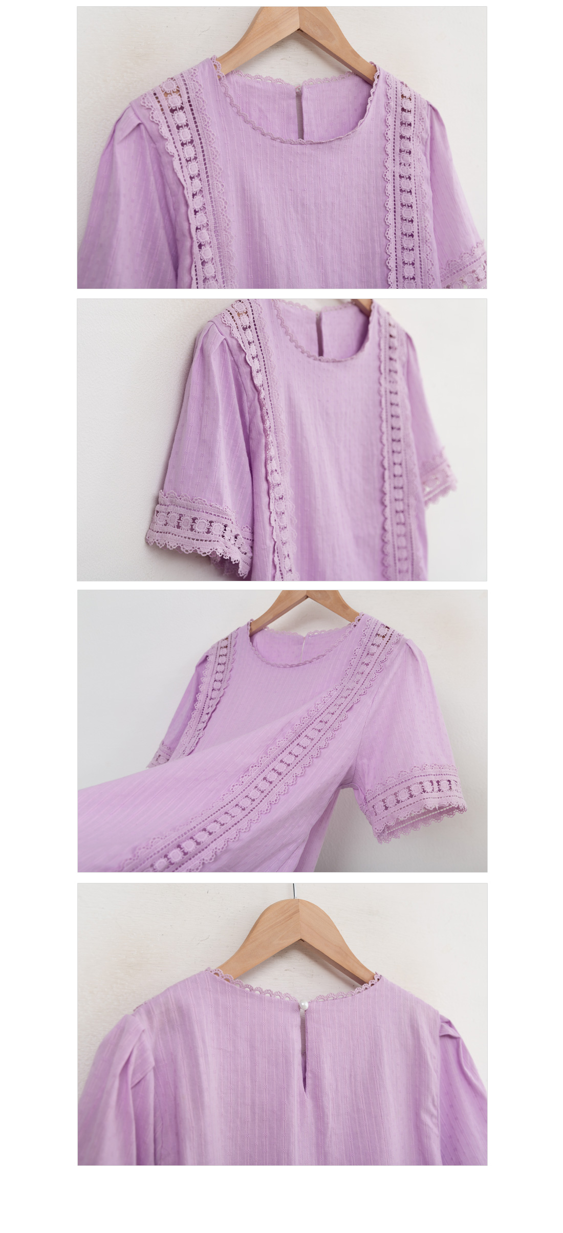 Lace embroidery blouse #47742