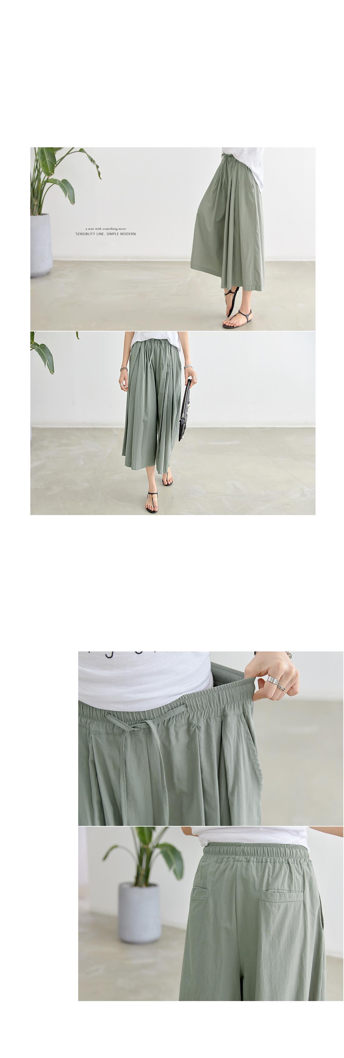 Loginong Pintuck Banding Wide Curlotte Pants #73075