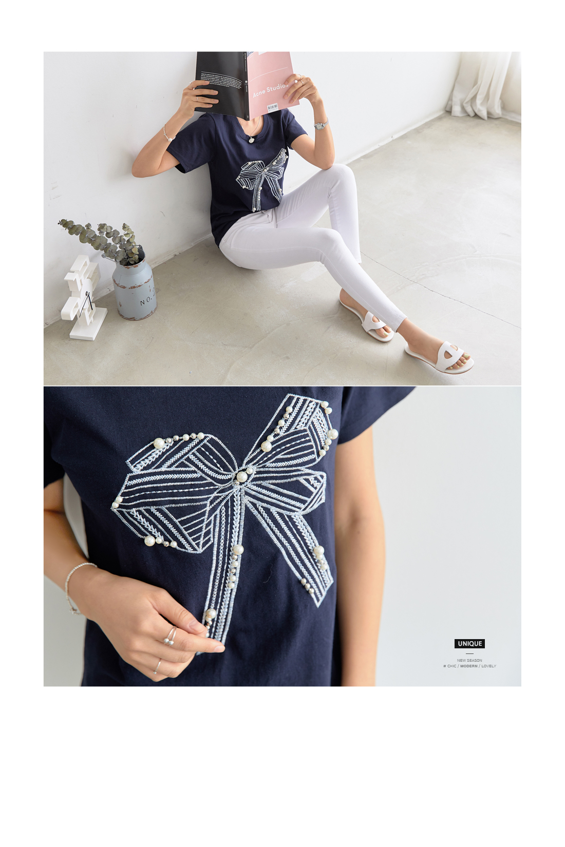Ribbon embroidered pearl t-shirt #105711