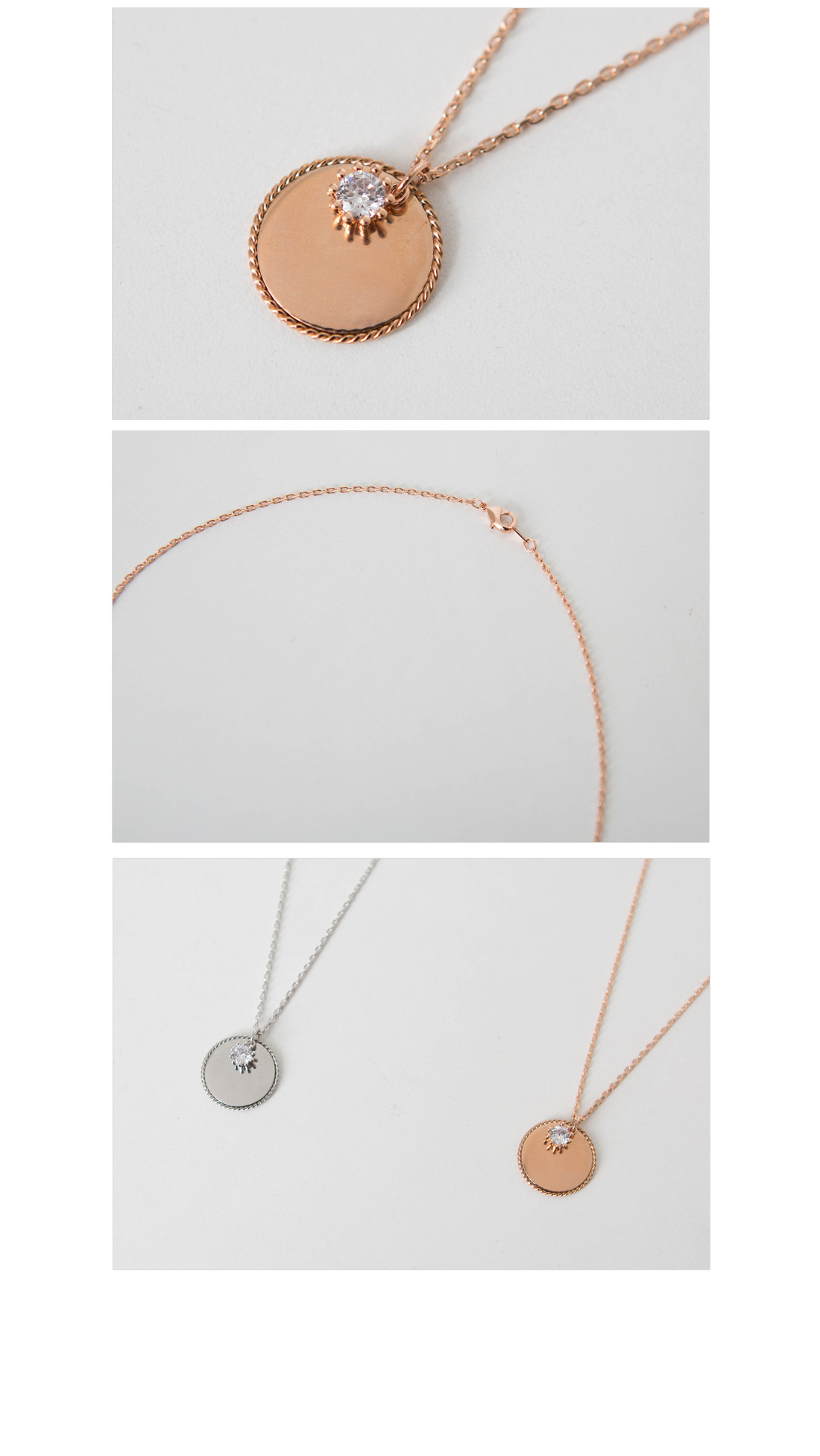 Mirror Circle Cubic Long Necklace #85195