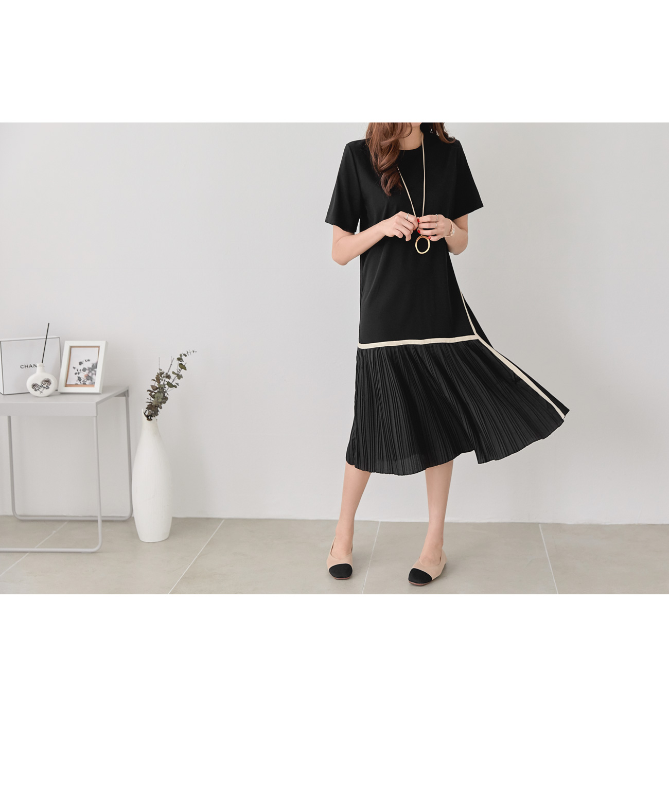 Taping unbal pleated dress #37117