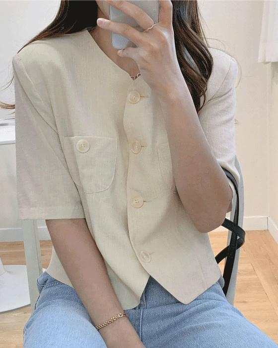 노카라 버튼 크롭 jacket - 3color