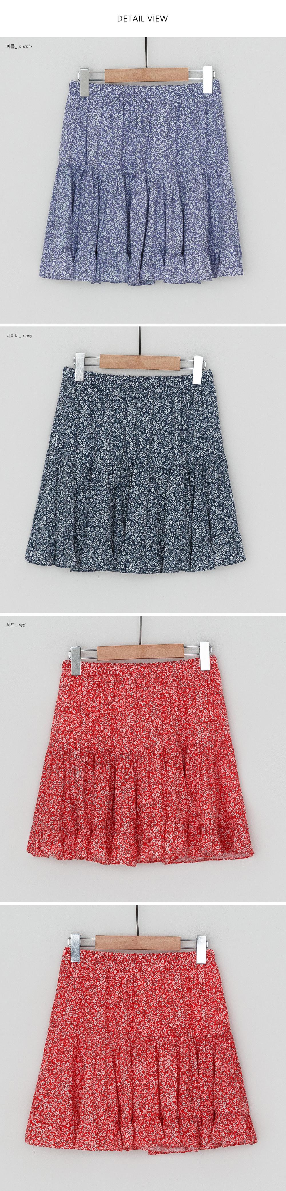 Flower rayon banding mini skirt