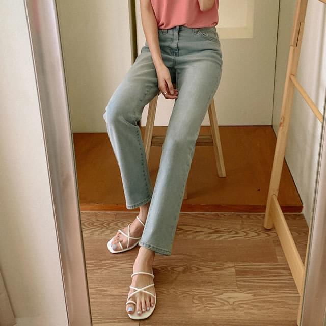 Vintage Wash Slim Fit Denim Pants