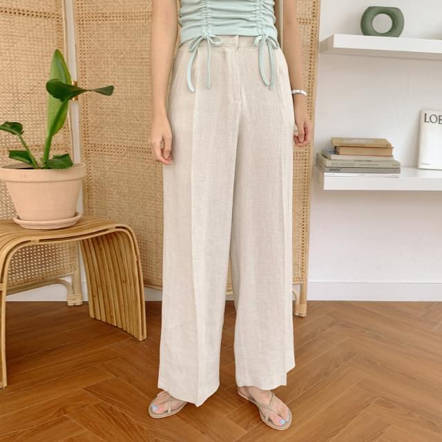 Wearable pintuck wide linen pants