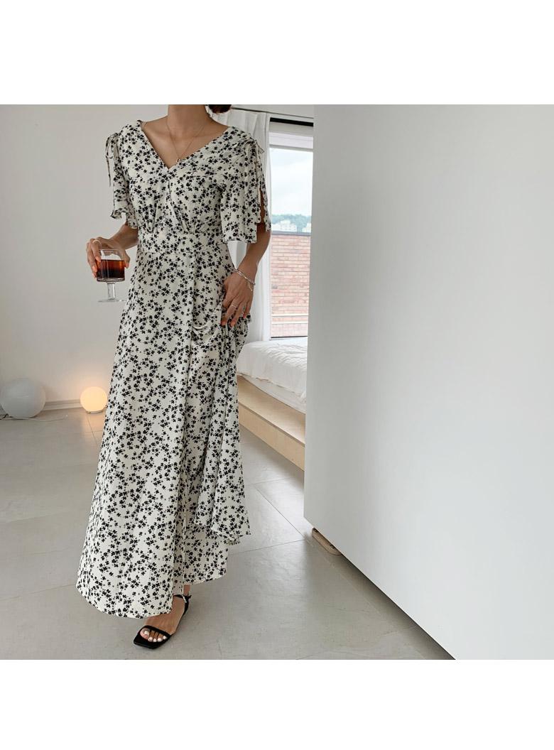Cape Flower Long Dress
