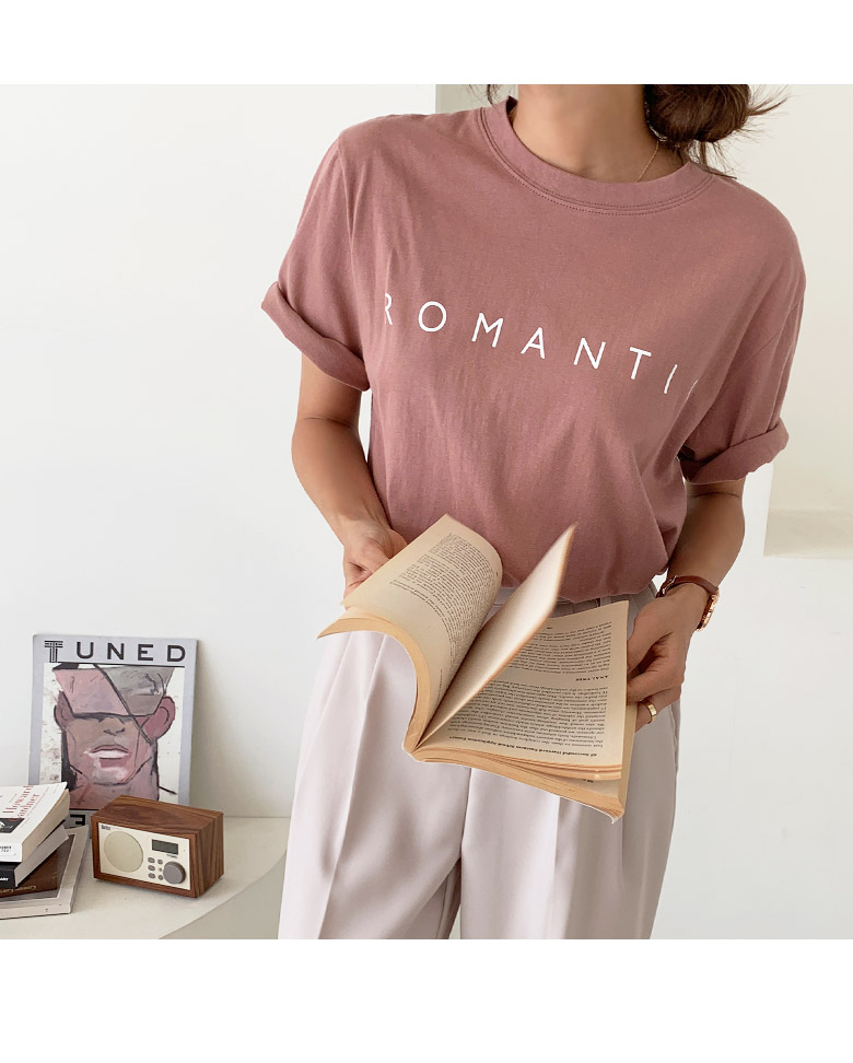Romantic Lettering Short-sleeved T-shirt