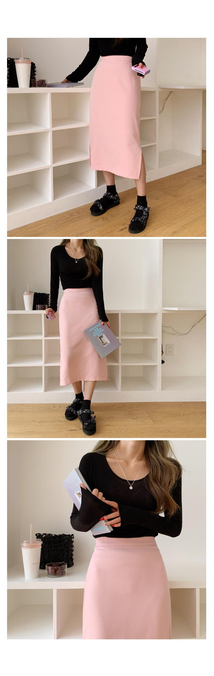 Clover basic slit banding midi skirt