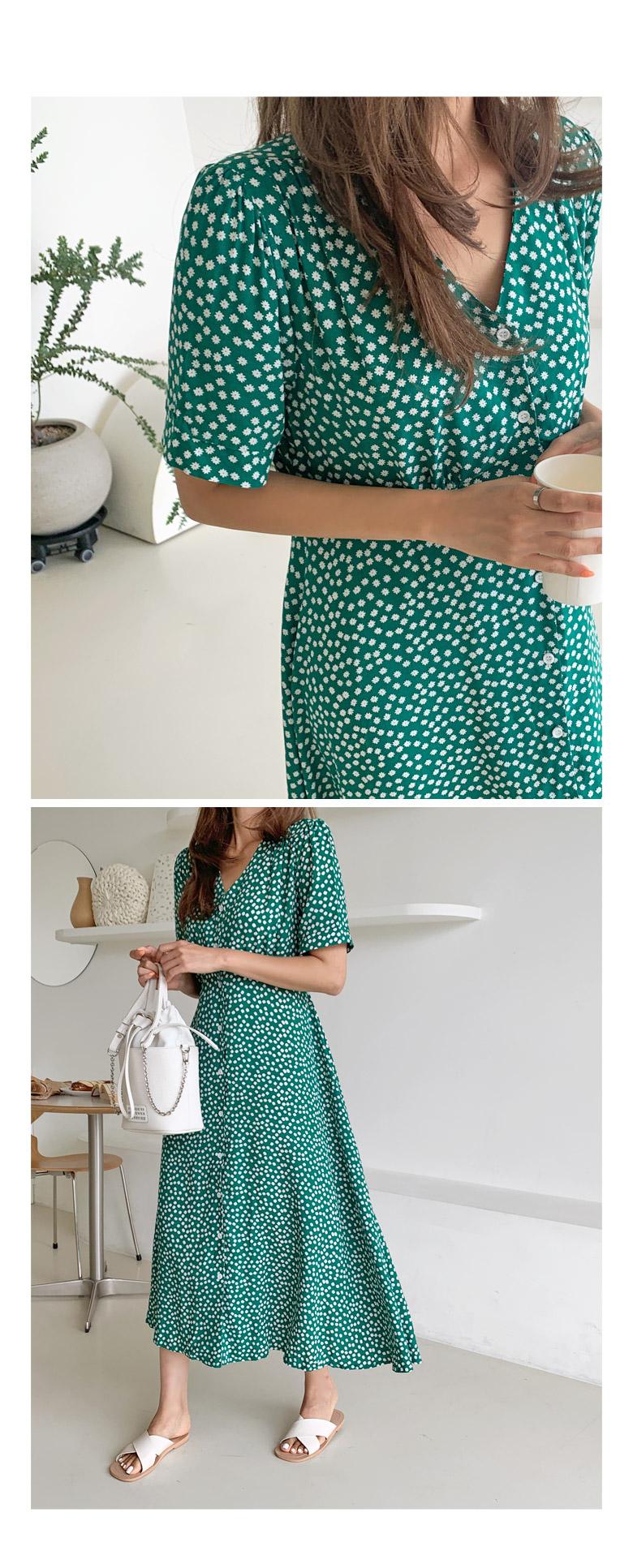 Mini Flower Button Long Dress