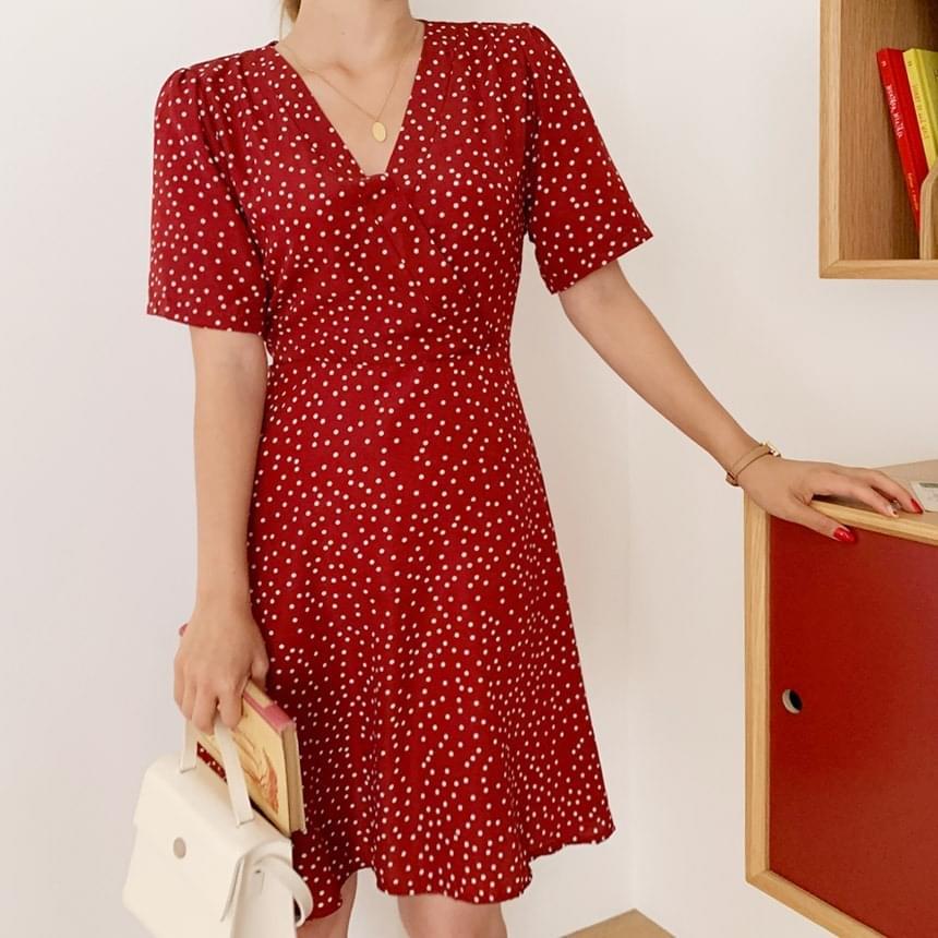 Raspberry dot flare mini dress