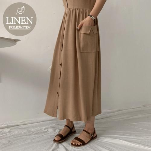 Free Pocket Linen Long Dress