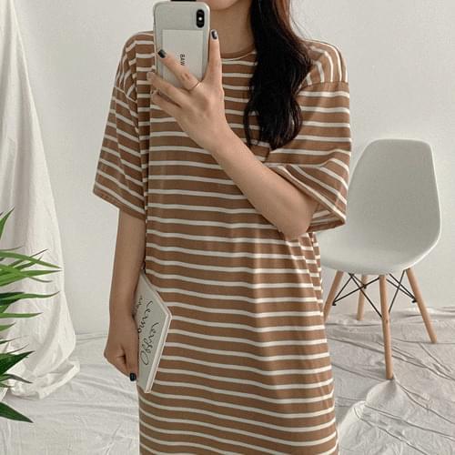 Runny Striped Long Tea Dress