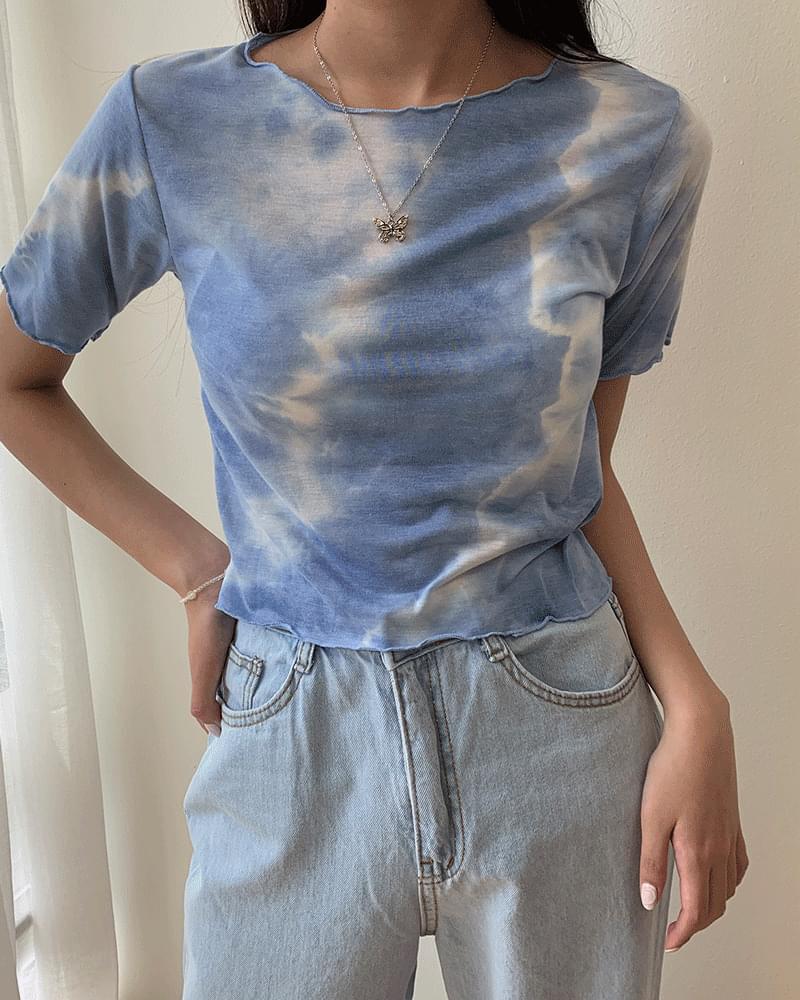 Tie-dye Water Print Crop Wavy Short-sleeved T-shirt