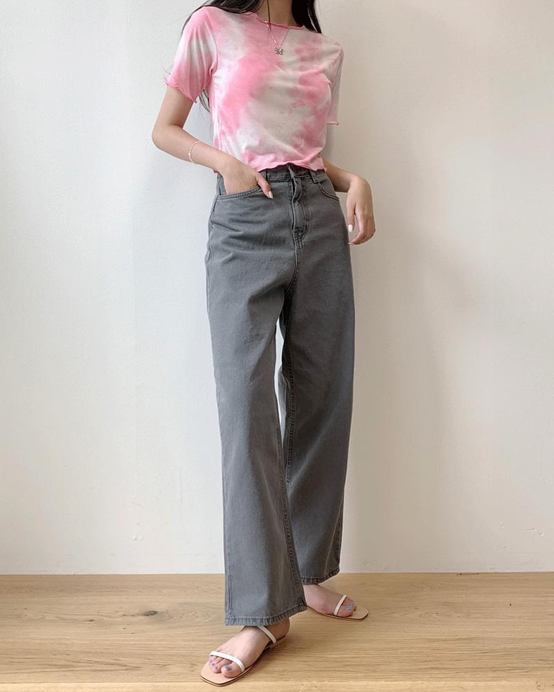 High waist long kite/jin gray wide pants