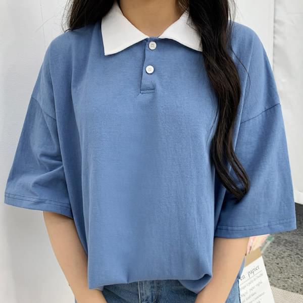Point color collar short sleeve tee