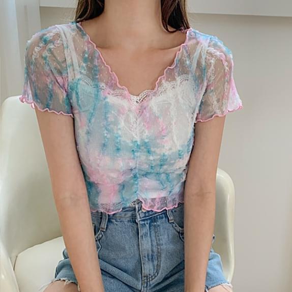 Aqua Water Printing T♥Unique Mesh Lace Fabric