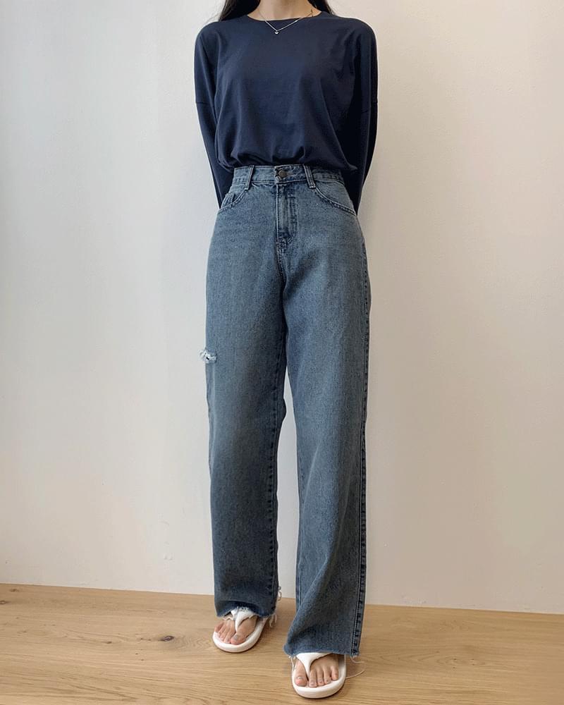 Side vintage wash wide jeans