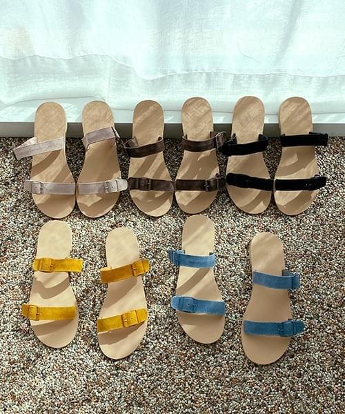 韓國空運 - Suede to buckle slippers 涼鞋