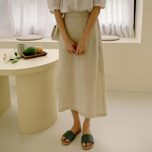 Strap back banding linen skirt