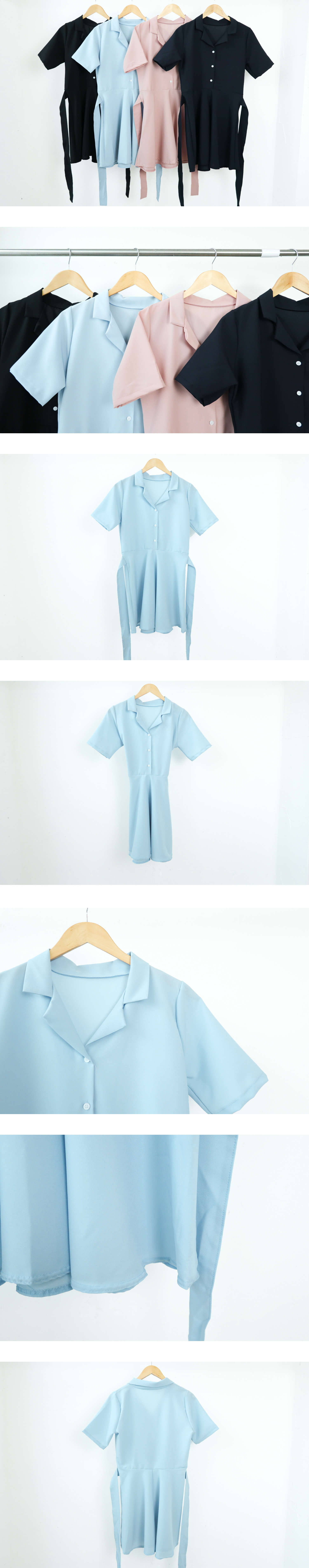 Ribbon flare short sleeve dress