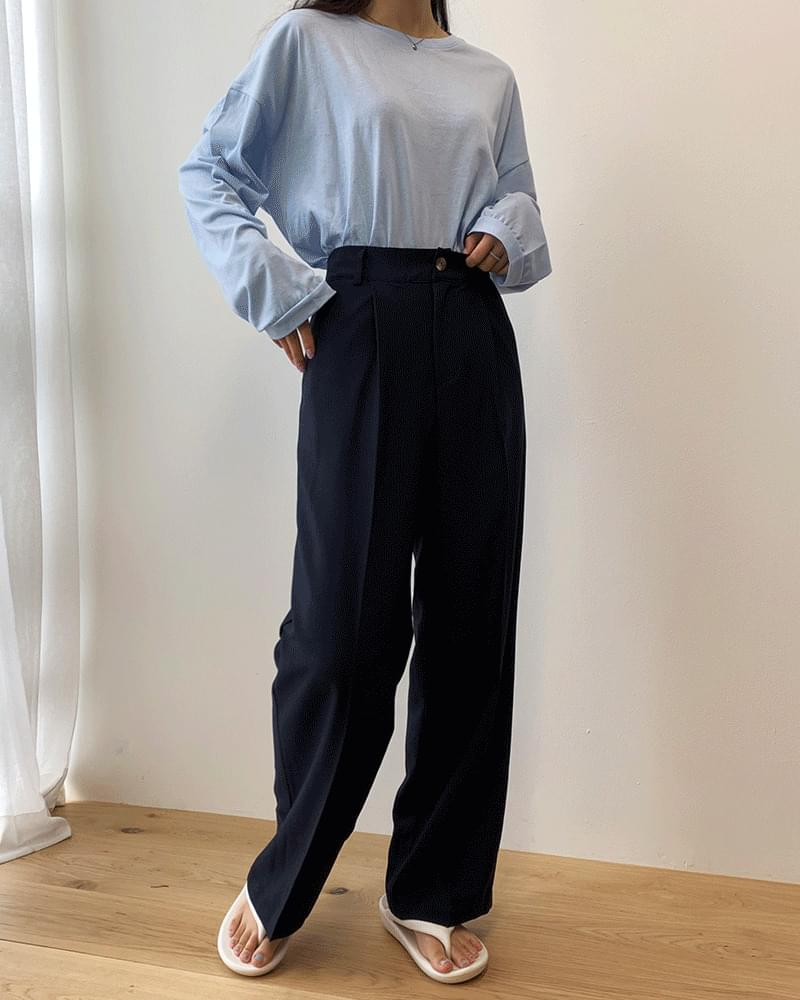 Thin Basic Wide Cool Pintuck Slacks