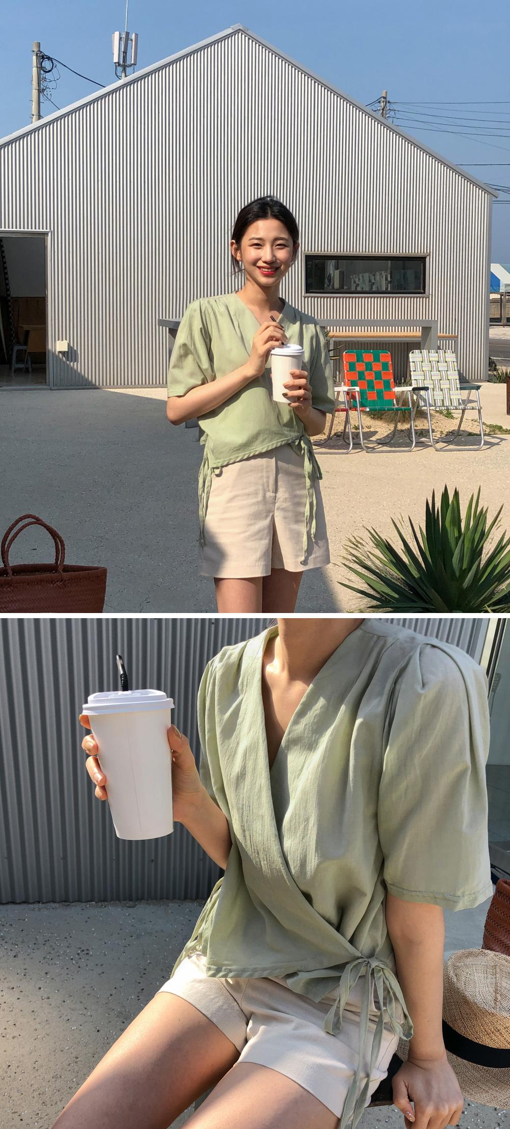 Semi-crop wrap blouse