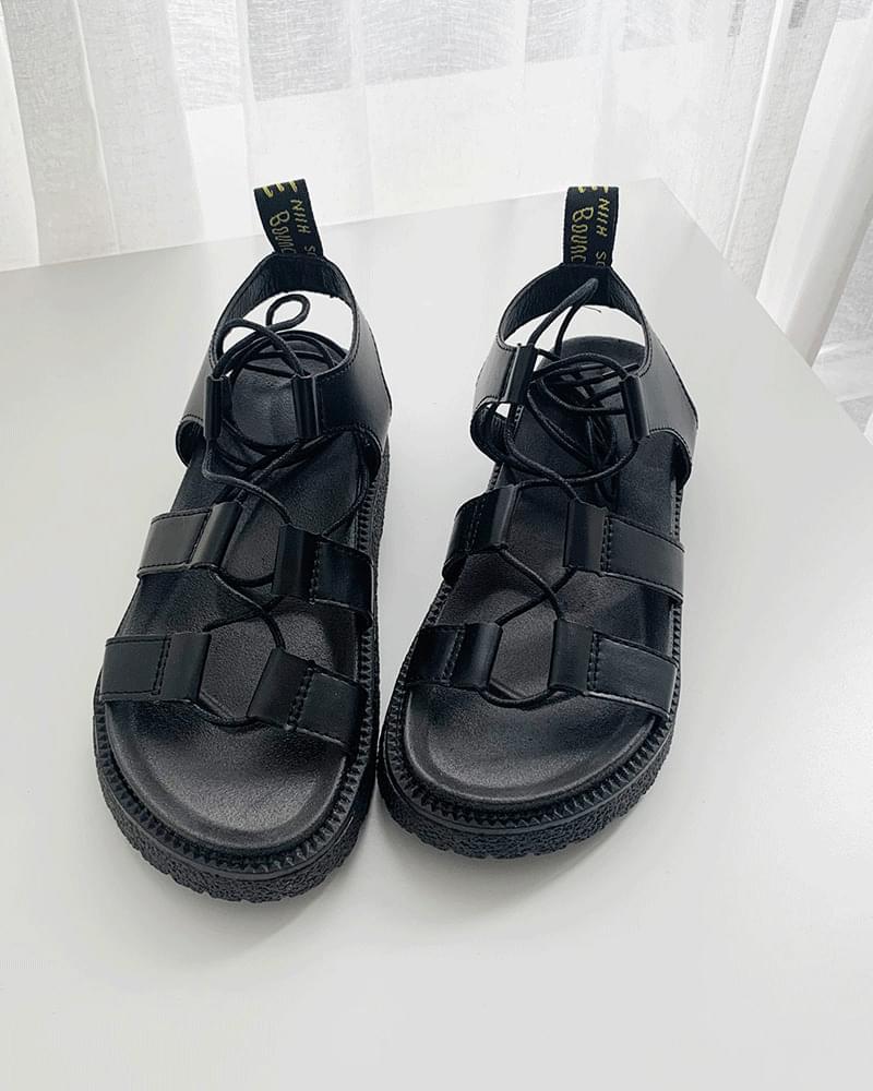 Martin Gladiator Lace-Up Ribbon Thong Sandals