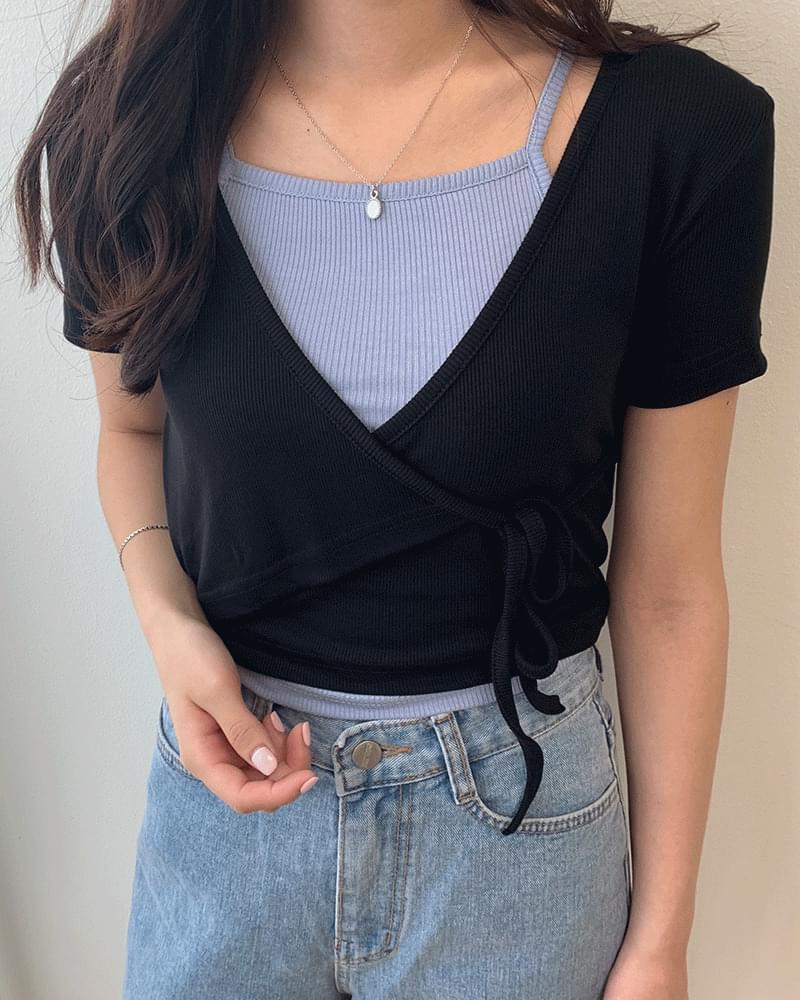 Ribbed wrap ribbon short-sleeved T-shirt
