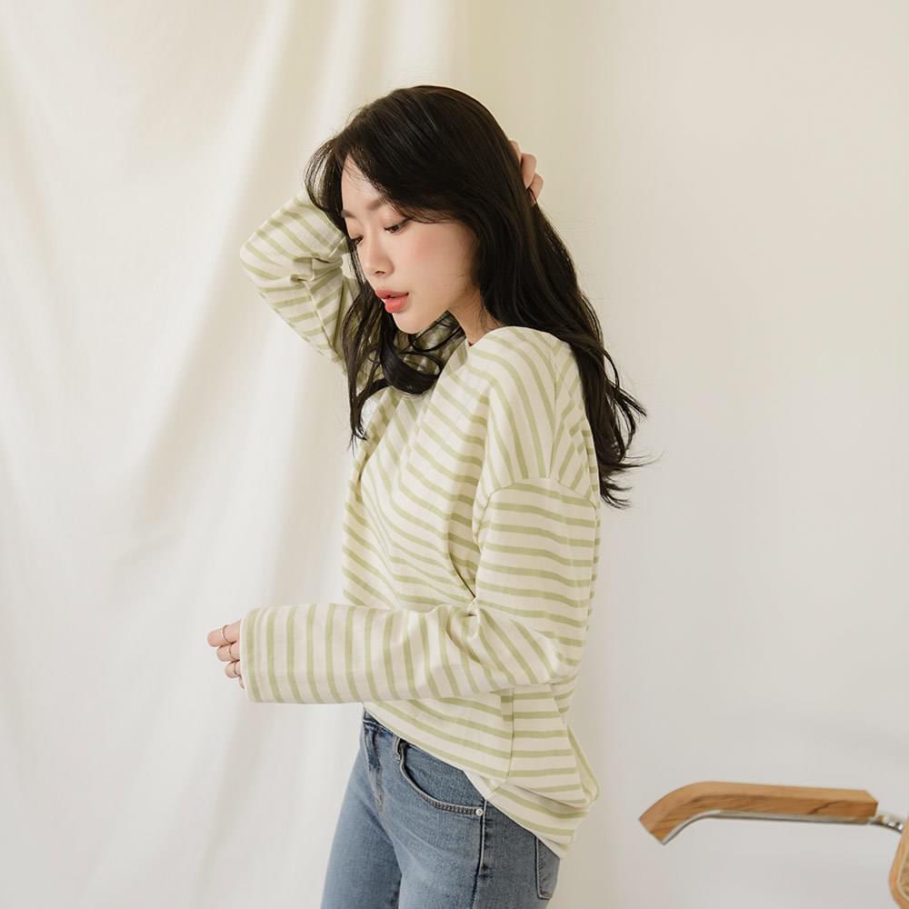 韓國空運 - Lip Neck Striped T-shirt 長袖上衣