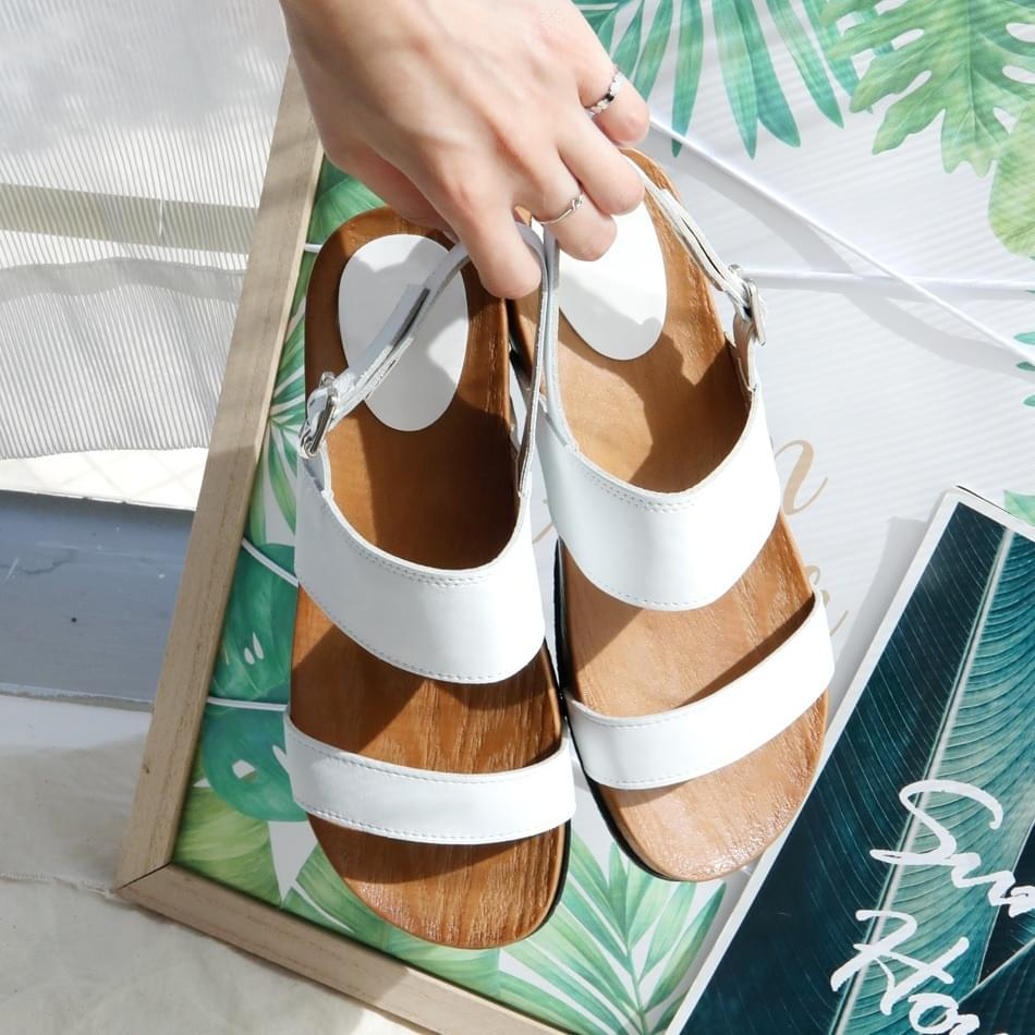 Pebbed leather slingback sandals 4 cm