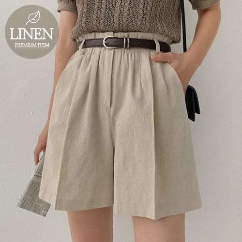 High-Bending Linen Pin Tak Shorts