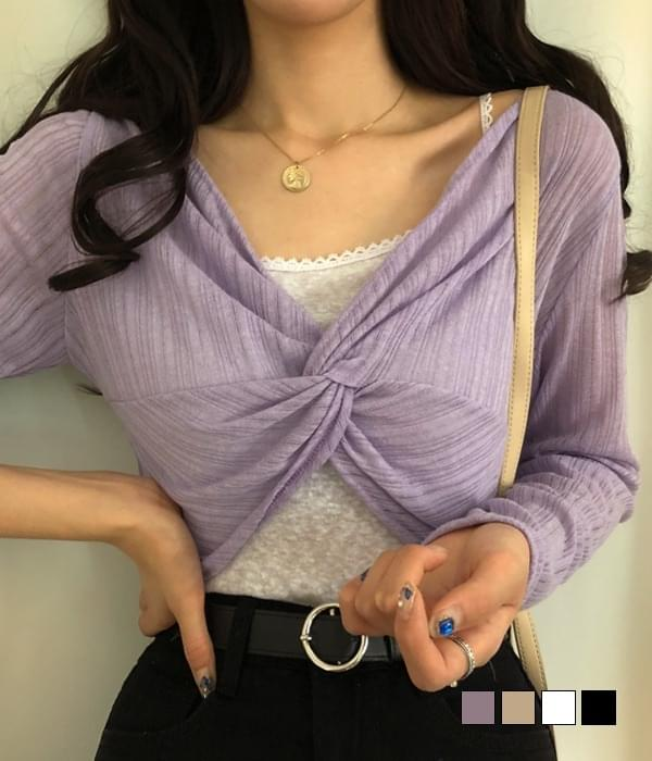 Some see-through twisted crop knit T-shirt