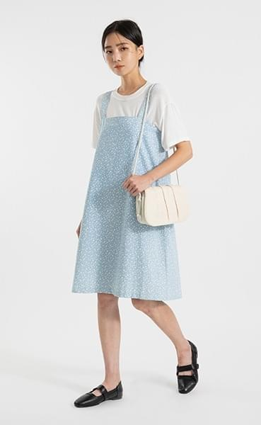 Dot pattern denim banding midi dress