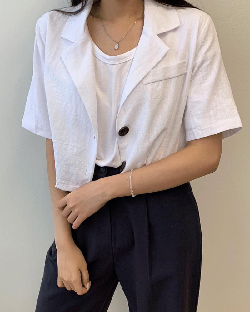 Mini Cara Linen Crop Summer Short Jacket