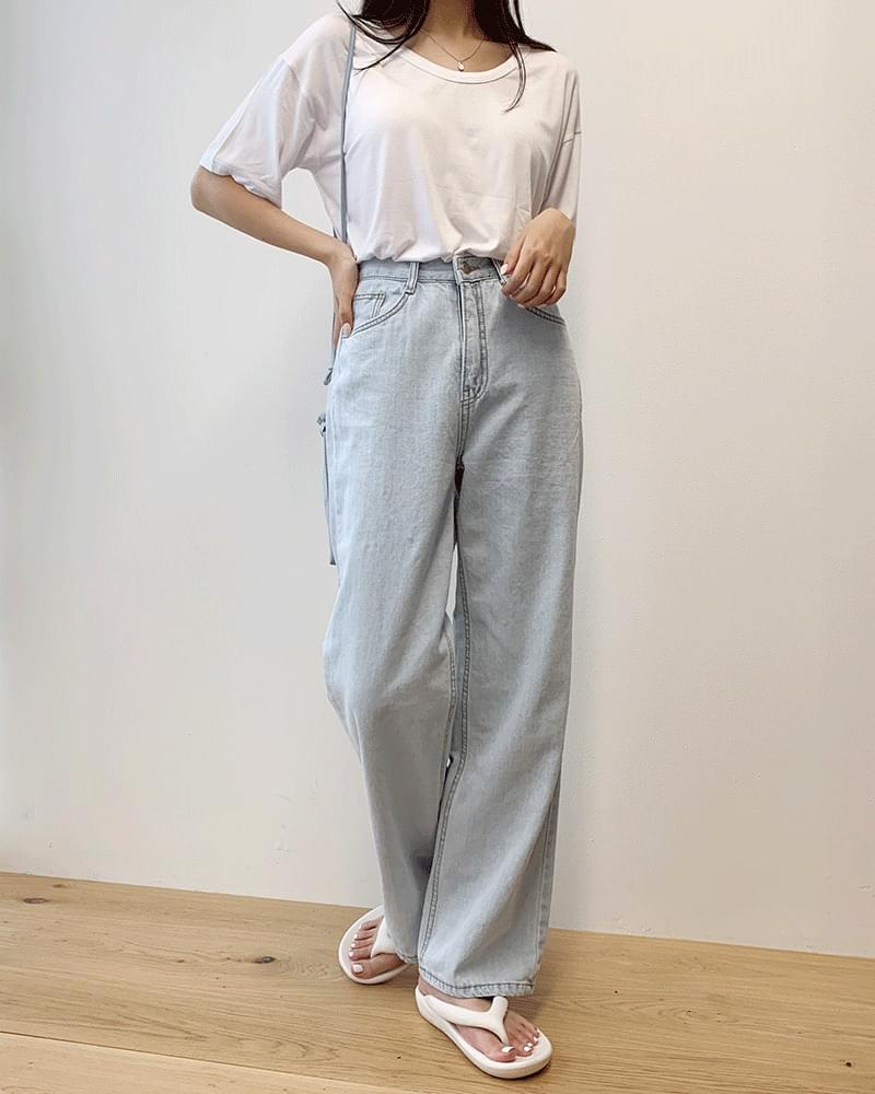 Light Light Blue Thin Denim Wide Pants
