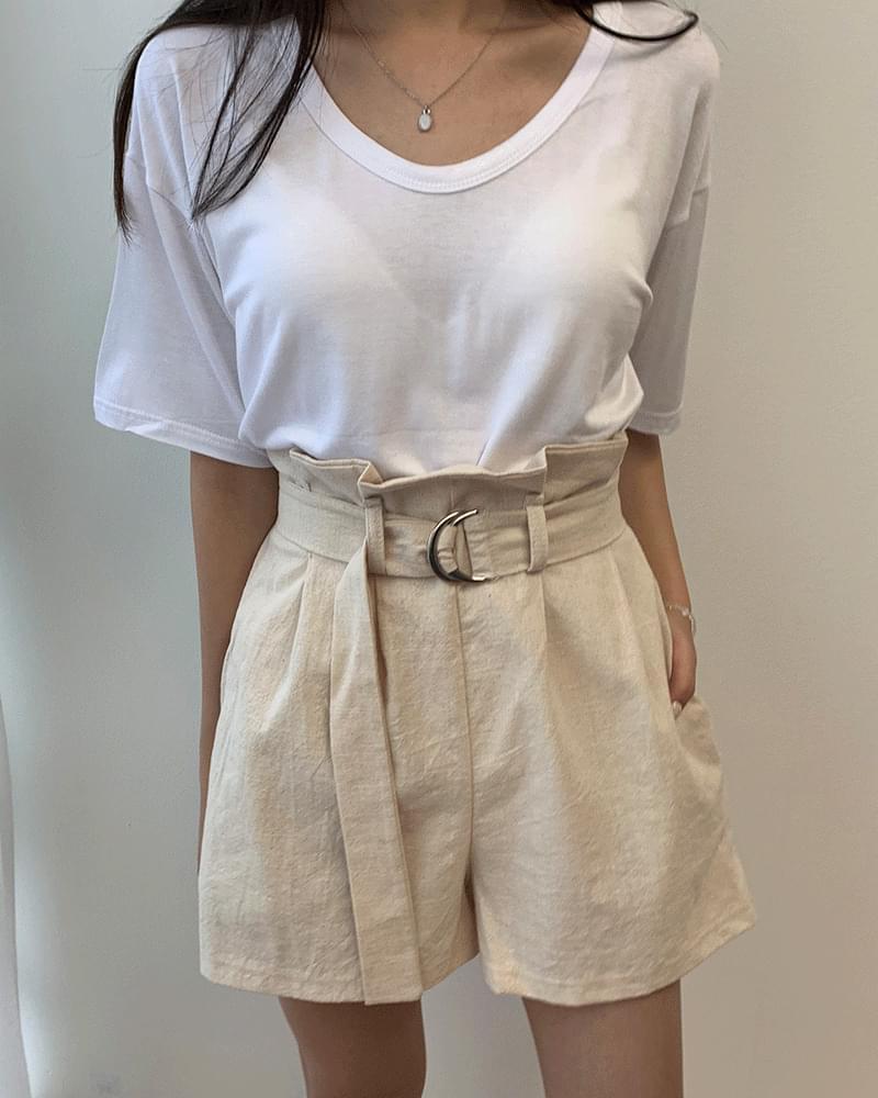 High waist ruffled ribbon belt linen shorts