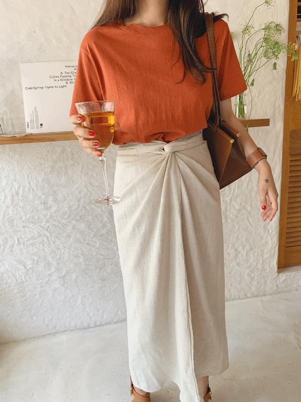 Vintage Cotton Linen Short Sleeve Tee